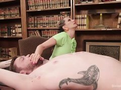 horny lady punishes a submissive guy