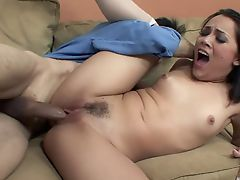 Raven hair babe swallows cum after fucking an older stud