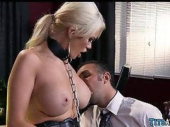 Collared Blonde sex toy at work